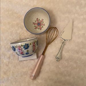 NEW Anthropologie Two Bowls, Whisk and Server